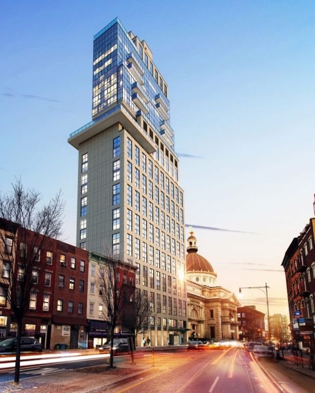 Previous rendering of the planned mixed-use hotel and condo development at 159 Broadway.