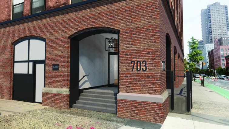The six-story property, a former piano factory, is also getting new entrances.