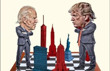 An illustration of two men squaring off across a large chessboard.