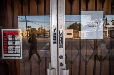 A framing art gallery is closed in Venice Beach in Los Angeles during the pandemic.