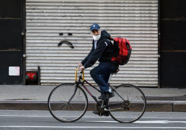 garment district, bike with facemask coronavirus