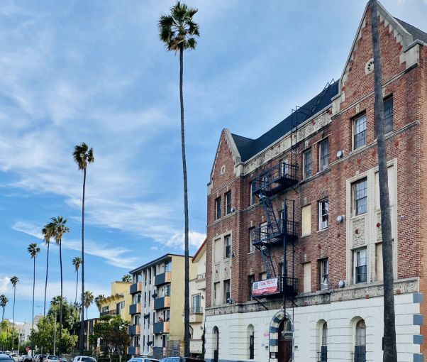 A block of apartments in Los Angeles near Koreatown. The largest landlord group in Southern California is fighting to end a rent freeze and a moratorium on evictions.