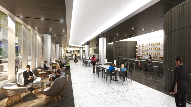 The new lobby will include a cafe and market-style retail stalls, as well as publicly accessible seating. The ground floor is a privately-owned public space.