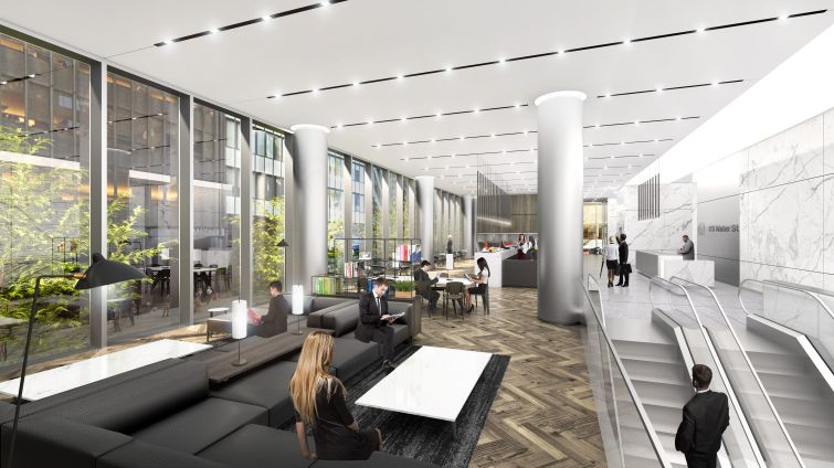 The upper level of the lobby will include a cafe with grab-and-go food offerings for tenants.