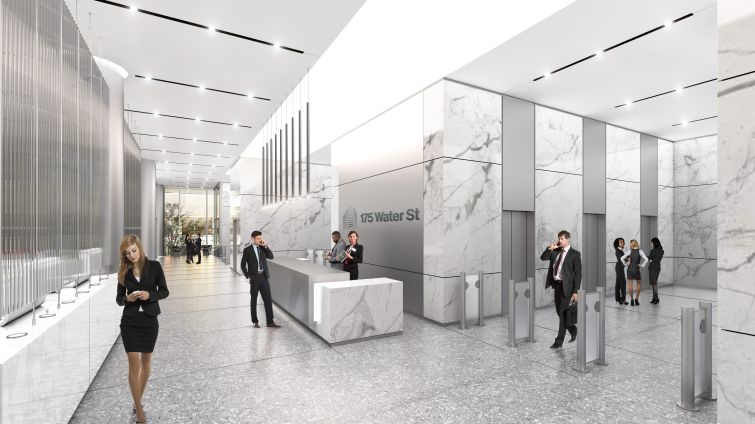 The reception area, like the other parts of the first-floor lobby, will include plenty of white marble.