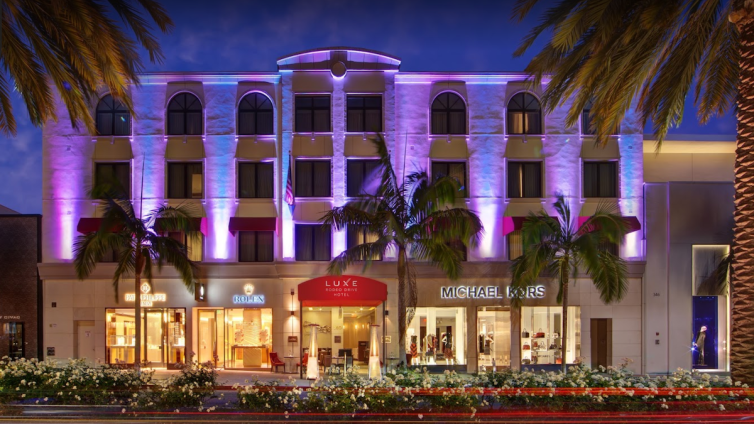 The luxury hotel is at 360 North Rodeo Drive.