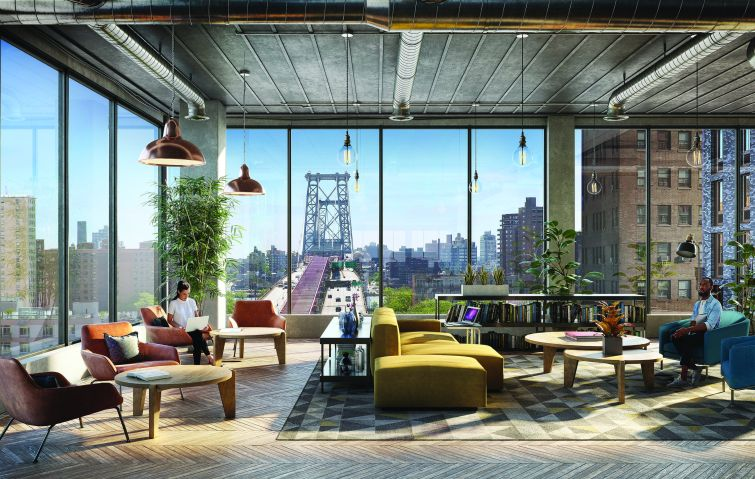 Rendering of a wide-open office with large windows and furniture.