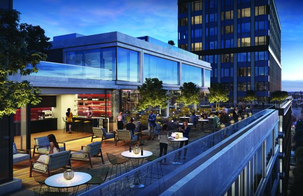 Rendering of an open, rooftop bar.