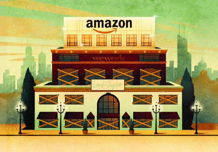 Large spaces once occupied by New York City department stores may become office spaces or food halls. One of the most high profile recent examples was Amazon's take over of the former Lord & Taylor flagship store on Fifth Avenue.
