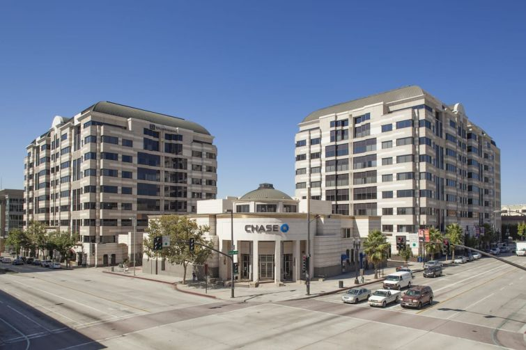 The 477,100-square-foot Pasadena Towers are located at 800 East Colorado Boulevard and 55 South Lake Avenue.