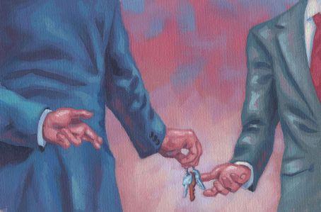 An illustration of two men handing each other keys.