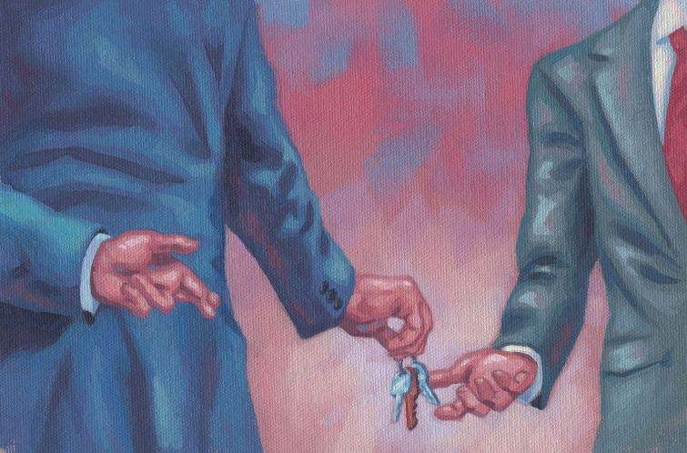 An illustration of two men handing each other keys.