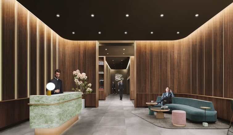 Dark wood paneling with bronze accents will cover much of the lobby, along with a reception desk made of emerald quartzite.