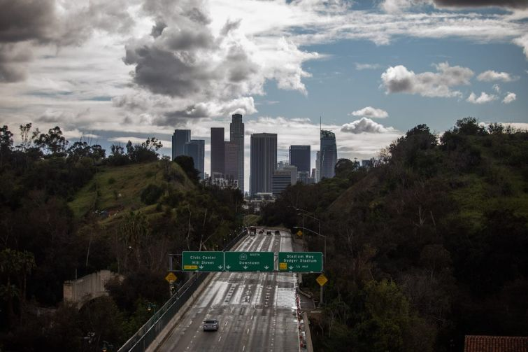 The Freeway 110 on March 19 when all residents of California were ordered to stay at home in a bid to battle the coronavirus pandemic. Seven months later, county officials are warning another lockdown could come if a new surge continues to worsen.
