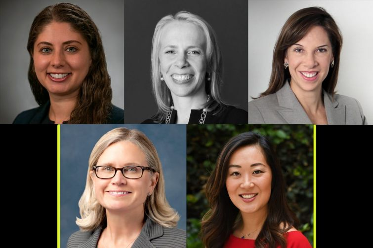 DEALMAKERS THROUGH COVID: (clockwise from top left) Darya Shneyder of Marks Paneth, Terri Adler of Duval & Stachenfeld, Melissa Burch of Lendlease, Jamie Lee of Jamison Realty and Kim Hourihan of CBRE.