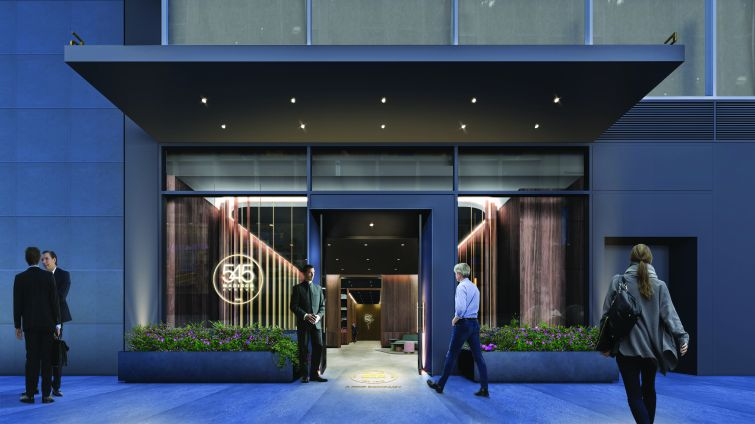 The renovation also includes a new ground floor facade and a new entrance with rounded doors.