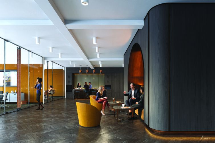 Prebuilt offices upstairs will also be designed in a midcentury style, with dark wood cabinetry and rounded alcove seating areas.