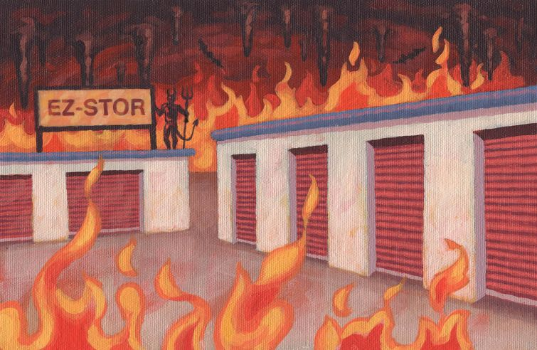 Illustration of a warehouse on fire.