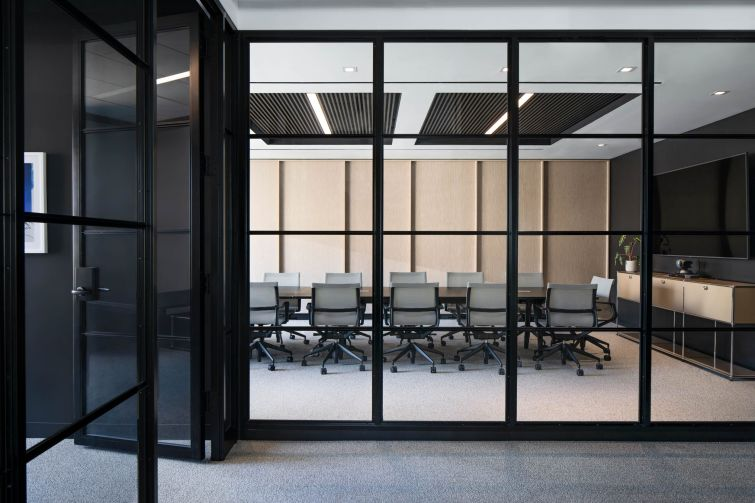 For the conference rooms, the architects focused on making sure the rooms looked good on video, because Axpo's NYC employees spend a lot of time on video chat with their headquarters in Switzerland.