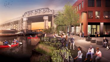 Monadnock is building a new headquarters with a public waterfront esplanade in the Gowanus industrial zone.