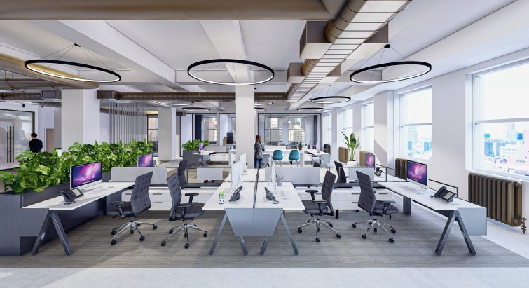 A rendering of the prebuilt office suites under construction at 1501 Broadway.