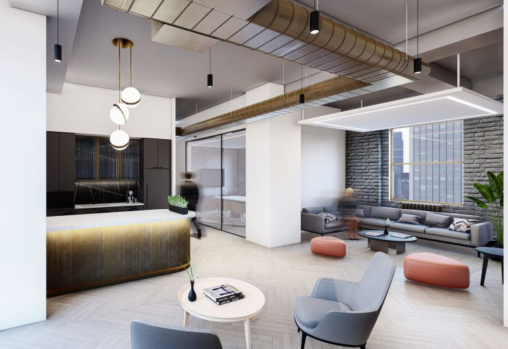 The Paramount Building's longtime landlords hope that the new midcentury modern spaces designed by MKDA will help draw a trendier, higher-paying class of tenants to the building.