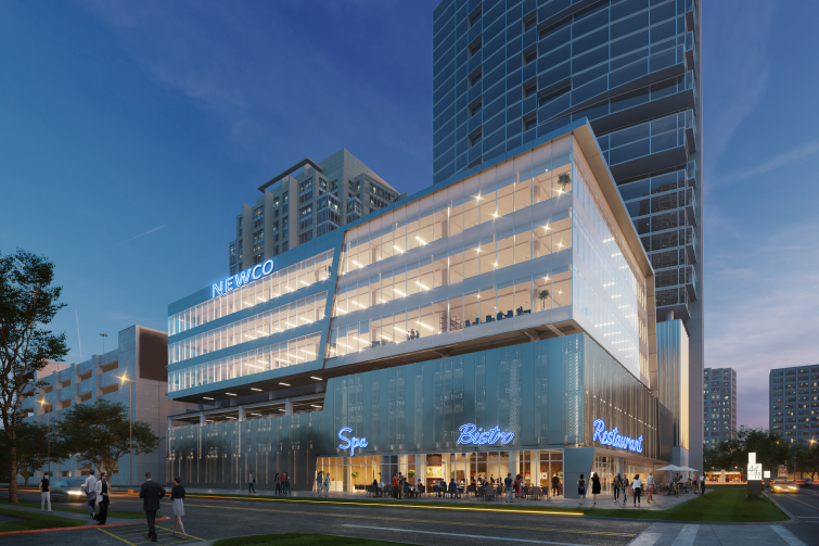 Rendering of a large, boxy building with the lights on.