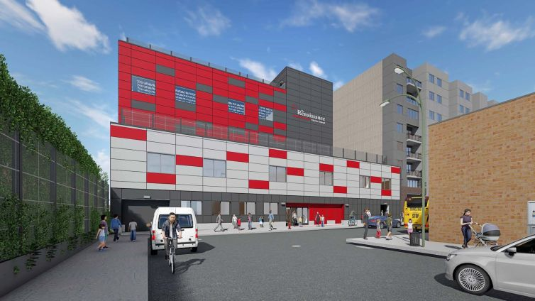 A rendering of the new school at 45-20 83rd Street.