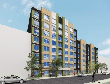 Rendering of a long, eight-story building.
