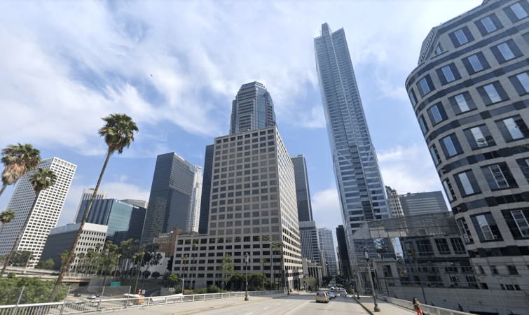 The building on Wilshire Boulevard includes more than 388,000 square feet of space adjacent to the 110 Freeway in the heart of the financial district. It's surrounded by the iconic buildings of downtown's skyline.