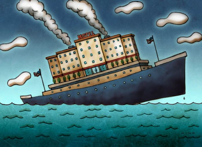 An illustration of a hotel on a ship that's sinking.