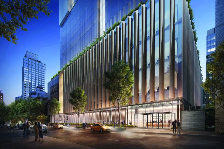 Rendering of a large, boxy building along a sidewalk.