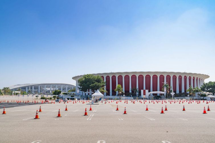 The Forum with SoFi Stadium to the left in Inglewood in September. L.A. Clippers, billionaire Steve Ballmer, paid $400 million to acquire the Forum in March.