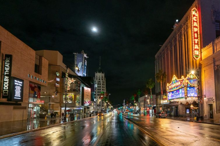 Hollywood Boulevard during the first rain of season on December 28. Without a daily flow of tourists and frequent movie premiers, the street was far more quiet than usual in 2020.
