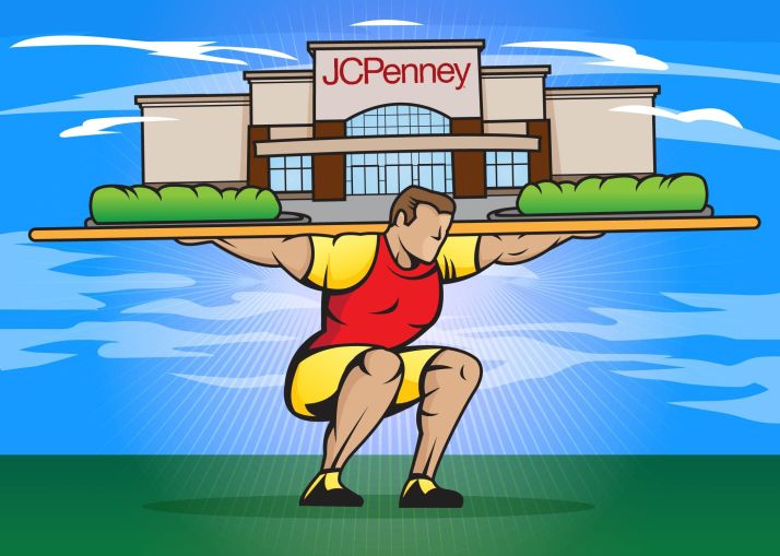 An illustration of a man balancing a mall on his shoulders.