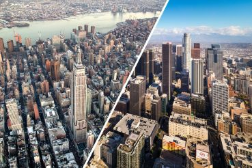 Aerials of New York (left) and Los Angeles.