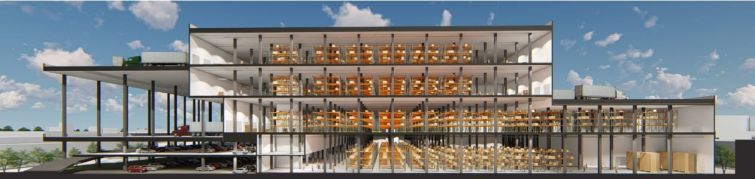 Rendering of the frontage of the Grand Logistics Center.