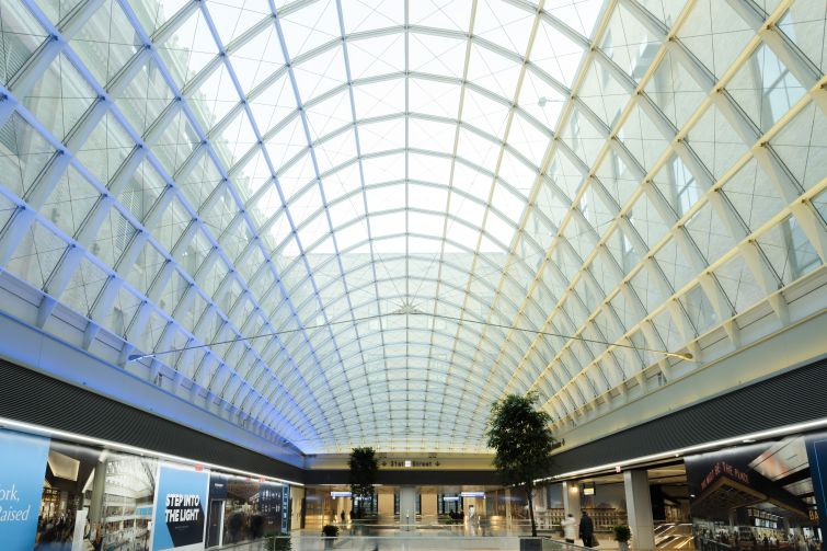 A second, smaller atrium with a skylight connects to the retail and office areas in the western half of the Farley building, where Facebook has leased 730,000 square feet.