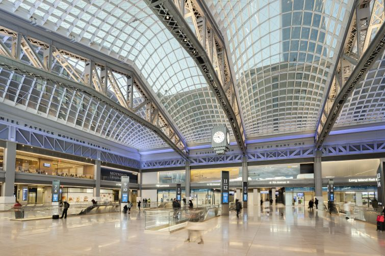 The SOM-designed space repurposes the massive James A. Farley Post Office building as a train hall, with a 115,000-square-foot retail and food hall component that will open later this year.