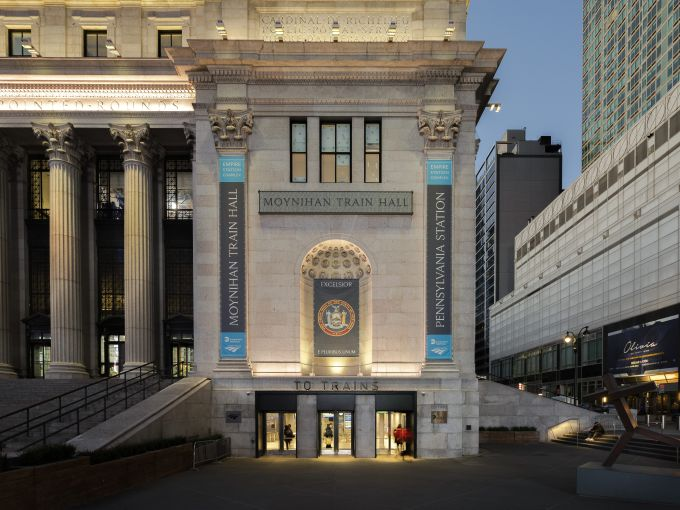 The landmarked exterior of the Farley Building remains largely untouched, except for a new set of color-changing LED lights.
