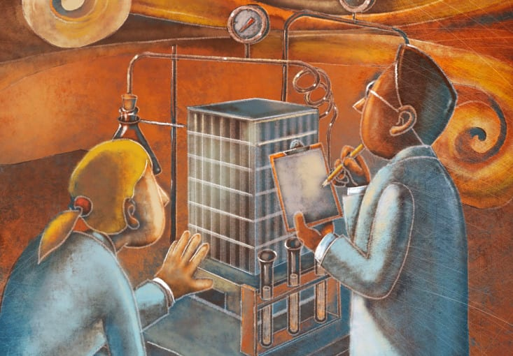 An illustration of two scientists examining a building.