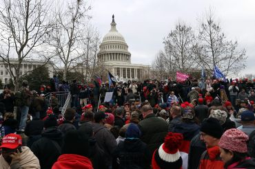 People protesting against the certification of Joe Biden's presidential victory gathered at the U.S. Capitol on Wednesday, shortly before several hundred stormed the building.