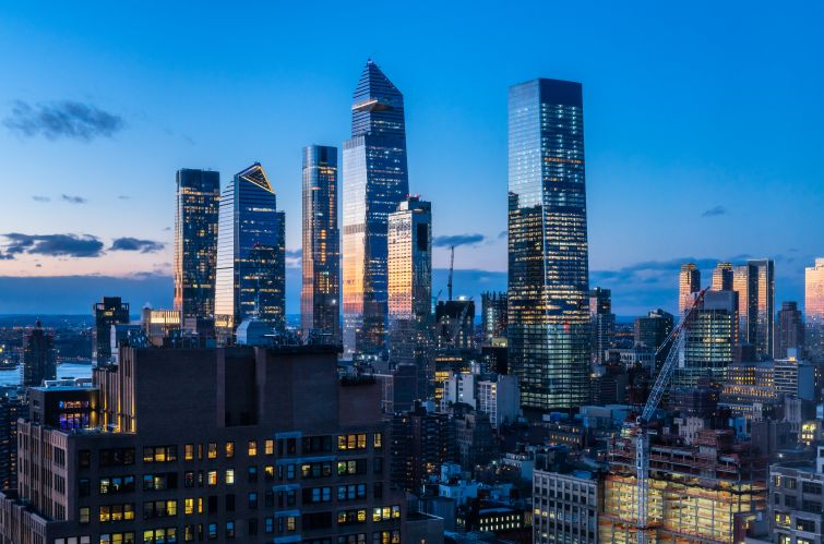 A wide shot of tall, glassy towers.