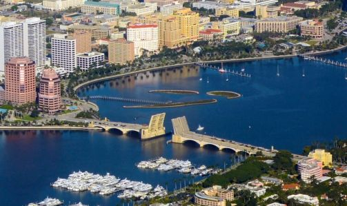 Aerial view of West Palm Beach, with Phillips Point on the left at the base of Royal Park Bridge.