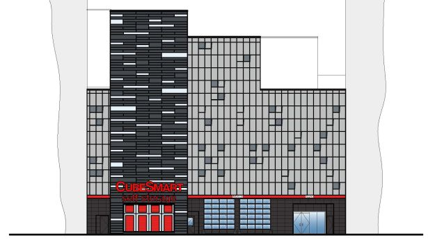 An illustration of the facade of the new self-storage facility at 41-47 East 21st Street.