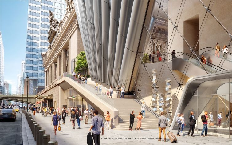 The new 83-story tower at 175 Park Avenue will rise on top of a train hall and include an elevated public space at its base—accessible via stairs from the street—that offers views of Grand Central Terminal and other nearby landmarks.