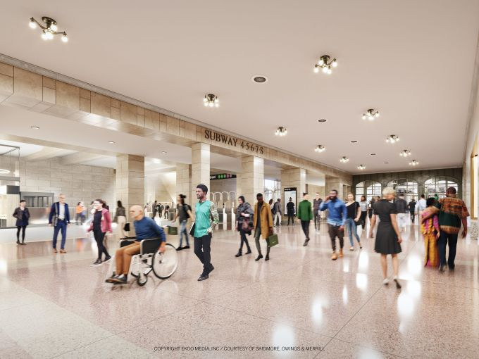 The new 5,400-square-foot train hall will double the capacity of the 42nd Street Passage and free up space inside the Grand Central subway station by bringing the subway turnstiles up to the ground level.