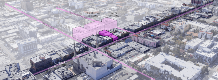 The project is expected to open in 2024 with the Arts Building designed by HGA along Hollywood Boulevard.