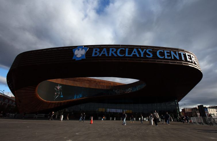 NEW YORK, NY - NOVEMBER 03: A view of the exterior of the Barclays Center on November 3, 2012  in the Brooklyn borough of New York City.  NOTE TO USER: User expressly acknowledges and agrees that, by downloading and/or using this photograph, user is consenting to the terms and conditions of the Getty Images License Agreement.  (Photo by Elsa/Getty Images)