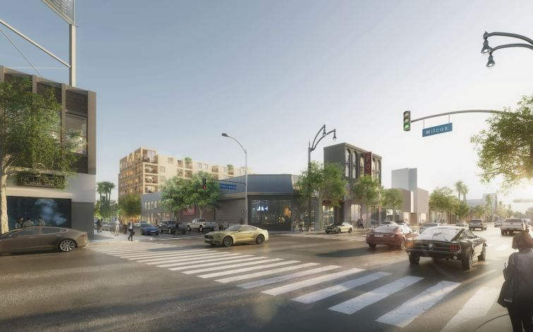 Renderings show the project from the corner of Hollywood Boulevard and Wilcox Avenue in Hollywood.